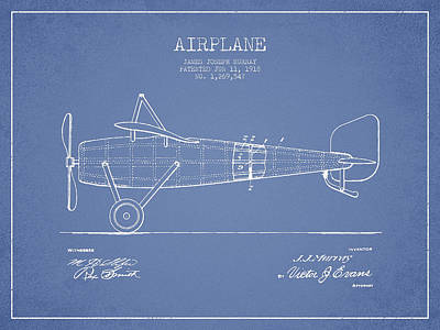 Icarus Drawing - Airplane Patent Drawing From 1918 by Aged Pixel