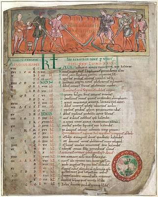 Calendar Photograph - Anglo-saxon Calendar by British Library