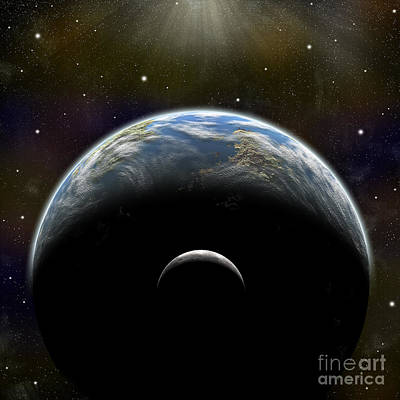 Surrealism Royalty-Free and Rights-Managed Images - Artists Depiction Of An Earth-like by Marc Ward