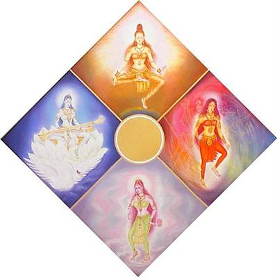 Painting - 4 Aspects Of The Divine Consciousness by Shiva  Vangara