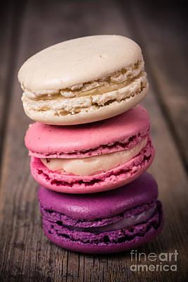 Raspberry Photograph - Assorted Macaroons Vintage by Jane Rix