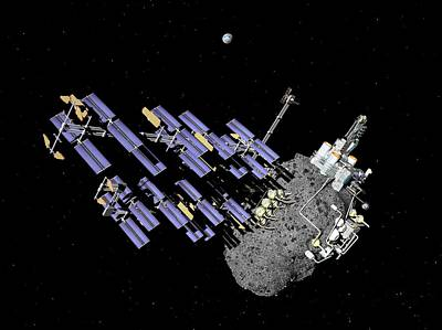 Asteroid Mining Outpost Art Print by Walter Myers