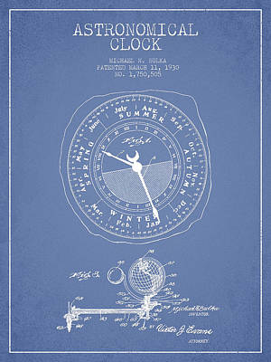 Alarm Clock Drawing - Astronomical Clock Patent From 1930 by Aged Pixel