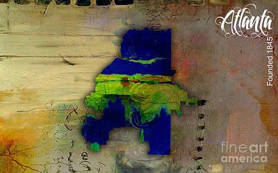 Atlanta Mixed Media - Atlanta Map Watercolor by Marvin Blaine