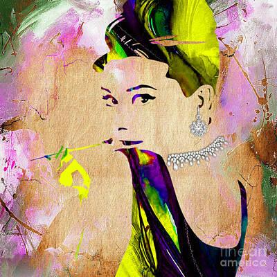 Audrey Hepburn Diamond Collection Art Print by Marvin Blaine