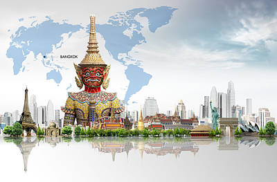 Authentic Inspiration Digital Art - Background Travel Concept  by Potowizard Thailand