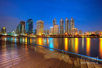 Photograph - Bangkok City Night Skyline by Fototrav Print
