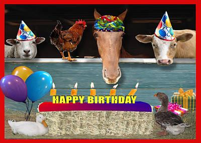 Barnyard Digital Art - Barnyard Birthday Bash by Jennifer Schwab
