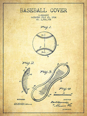 Softball Drawing - Baseball Cover Patent Drawing From 1924 by Aged Pixel