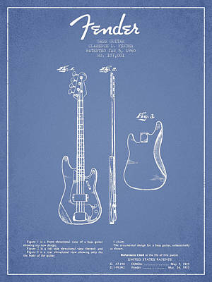 Music Drawing - Bass Guitar Patent Drawing From 1960 by Aged Pixel