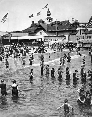 Bathing Photograph - Bathers At Coney Island by Underwood Archives