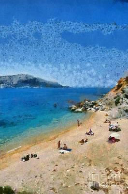 Tanning Painting - Beach In Legrena by George Atsametakis