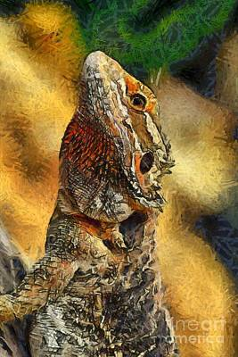 Dragon Painting - Bearded Dragon by George Atsametakis