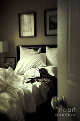 Bedroom Scene With Under Garments On Bed Art Print by Sandra Cunningham