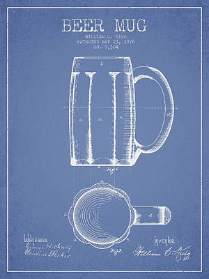 Beer Royalty-Free and Rights-Managed Images - Beer Mug Patent from 1876 - Light Blue by Aged Pixel