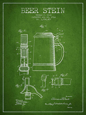Beer Royalty-Free and Rights-Managed Images - Beer Stein Patent from 1914 - Green by Aged Pixel