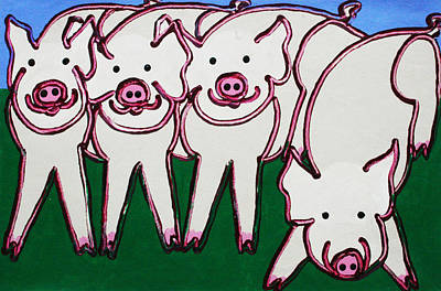 4 Beige Pigs Art Print by Matthew Brzostoski