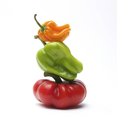 Food And Drink Photograph - Bell Peppers And Tomatoes by Bernard Jaubert