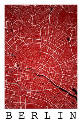 City Map Digital Art - Berlin Street Map - Berlin Germany Road Map Art On Colored Backg by Jurq Studio