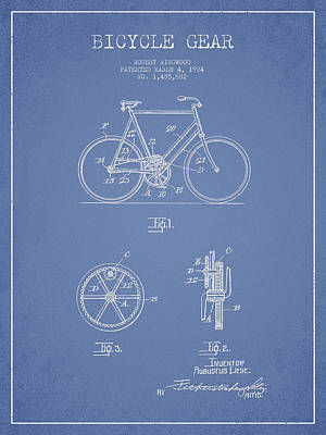 Transportation Digital Art - Bicycle Gear Patent Drawing from 1922 - Light Blue by Aged Pixel