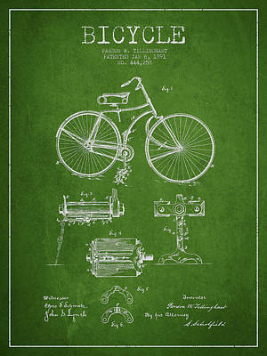 Transportation Digital Art - Bicycle Patent Drawing from 1891 by Aged Pixel
