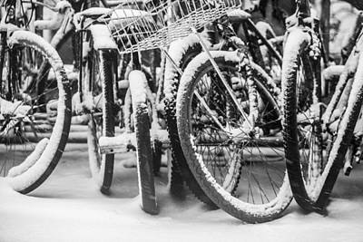 Photograph - Bicycles Under Snowstorm by Alex Potemkin
