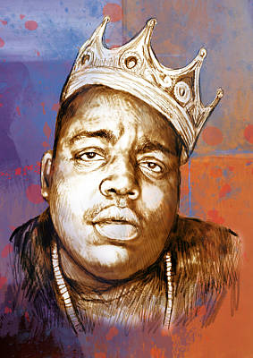 Biggie Drawing - Biggie Smalls Colour Drawing Art Poster by Kim Wang