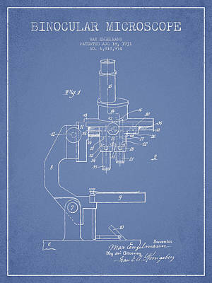 Binocular Microscope Patent Drawing From 1931 - Light Blue Art Print by Aged Pixel