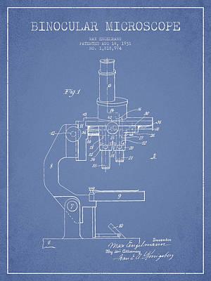 Glass Wall Digital Art - Binocular Microscope Patent Drawing From 1931 - Light Blue by Aged Pixel