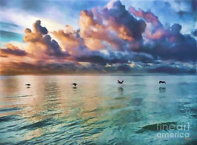 Sunrise Digital Art - 4 Birds by Jeff Breiman