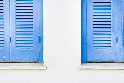 Old Latch Photograph - Blue Shutters by Tom Gowanlock