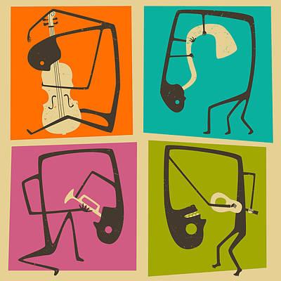 Saxophone Digital Art - 4 Blues Musicians by Jazzberry Blue