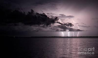 Lightning Photograph - 4 Bolts Over Captiva Island by Quinn Sedam