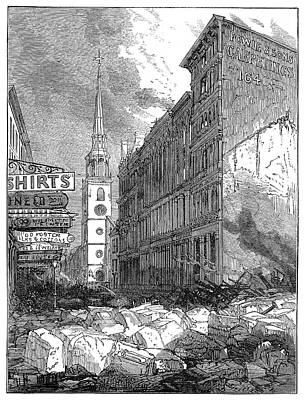South Boston Painting - Boston Fire, 1872 by Granger