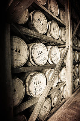 Sepia Photograph - Bourbon Barrels by Karen Varnas