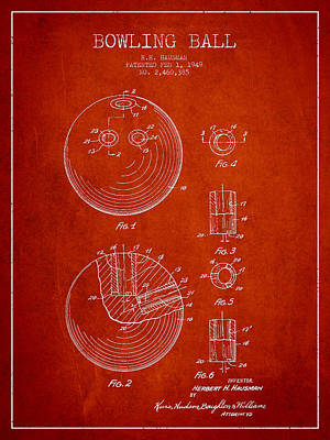 Bowling Ball Patent Drawing From 1949 Print by Aged Pixel