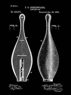 Bowling Pin Patent 1895 - Black Print by Stephen Younts