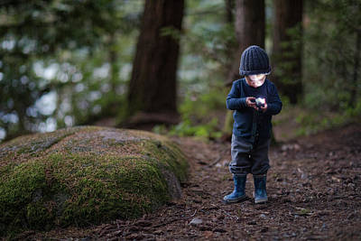 Harrison Hot Springs Wall Art - Photograph - Boy Holding And Using Headlamp by Christopher Kimmel