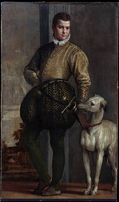 Paolo Caliari Veronese Painting - Boy With A Greyhound by Paolo Veronese