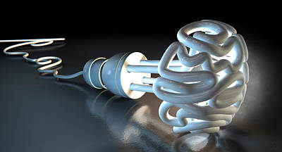 Sense Digital Art - Brain Flourescent Light Bulb by Allan Swart