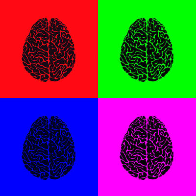 Left Hemisphere Digital Art - 4 Brain Pop Art Panel by Daniel Hagerman
