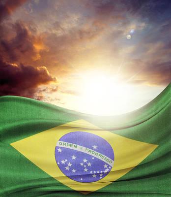 Brazilian Flag Print by Les Cunliffe