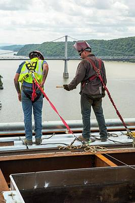 Construction Workers Photograph - Bridge Lift Construction Workers by Jim West