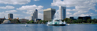 Orange Photograph - Buildings At The Waterfront, Lake Eola by Panoramic Images