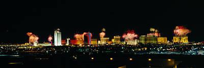 Buildings Lit Up At Night, Las Vegas Art Print by Panoramic Images