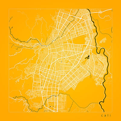 Vermeer Rights Managed Images - Cali Street Map - Cali Colombia Road Map Art on Color Royalty-Free Image by Jurq Studio