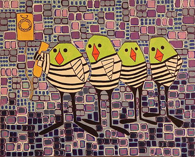12 Days Of Christmas Painting - 4 Calling Birds by Donna Howard