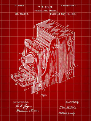 Nikon Digital Art - Camera Patent 1887 - Red by Stephen Younts