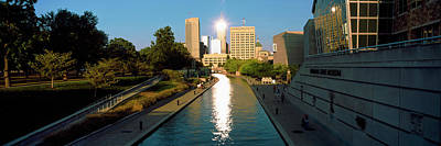 Canal In A City, Indianapolis Canal Art Print by Panoramic Images