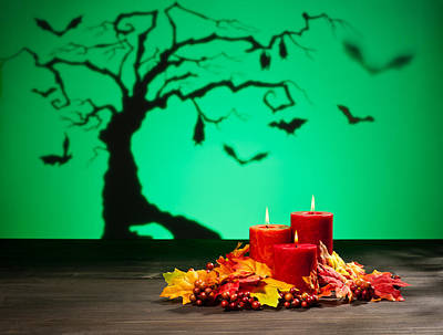 Photograph - Candles In Halloween Setting by Ulrich Schade